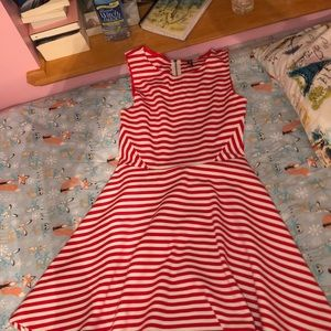 H&M Divided red and white striped dress size M.